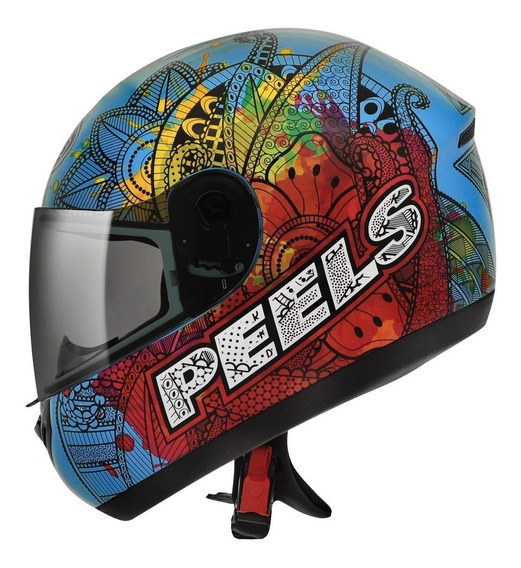 Capacete Peels Spike Indie Azul Ciano E Colorido Moto Com Nf