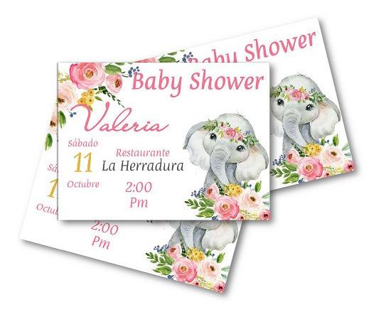 12 Invitaciones Elefante Bebe Con Flores