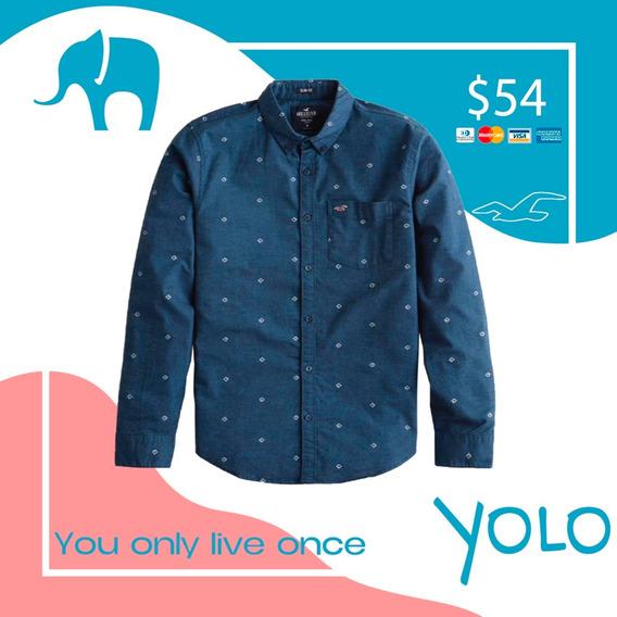 Camisa Hollister Original Azul Oscuro Talla S