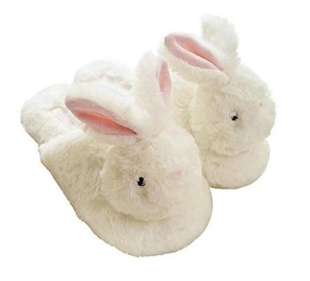 Zapatillas De Casa Acogedoras De Lana Conejo Feliz Pps