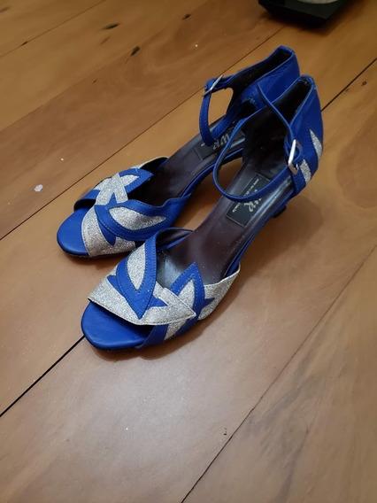 Sandália Dança De Salão Salsa Tango Azul E Prata 35