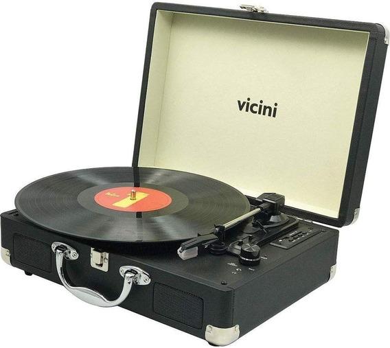 Vitrola Toca Discos Fm Vinil Usb Reproduz Grava Bluetooth