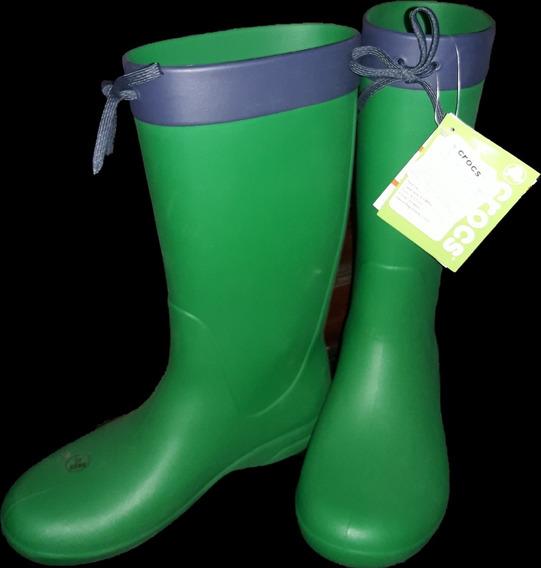 Botas De Lluvia Crocs Freesail Rain Boot Verde Dama