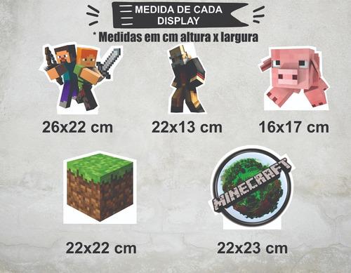 Imagem 1 de 4 de Festa Minecraft Displays Adesivados Cenário Mesa