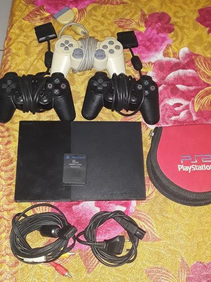 Playstation 2 Com 3 Controles Com Memori Card + Porta Jogos