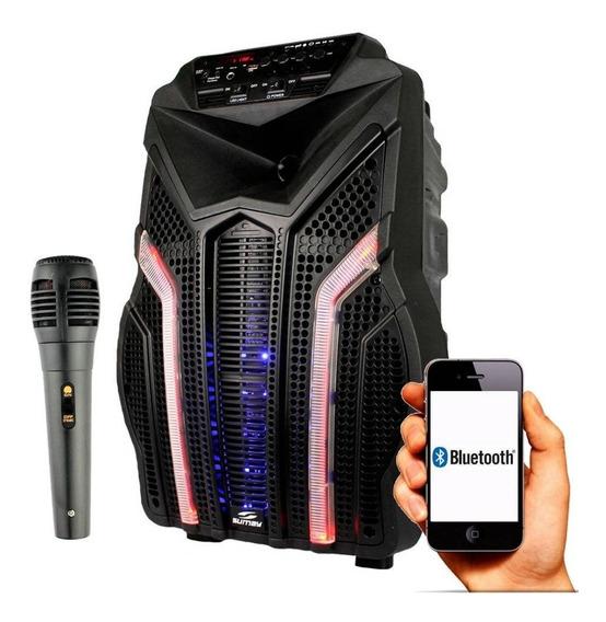 Caixa Som Amplificada Alça Bluetooth Rádio Brinde Microfone