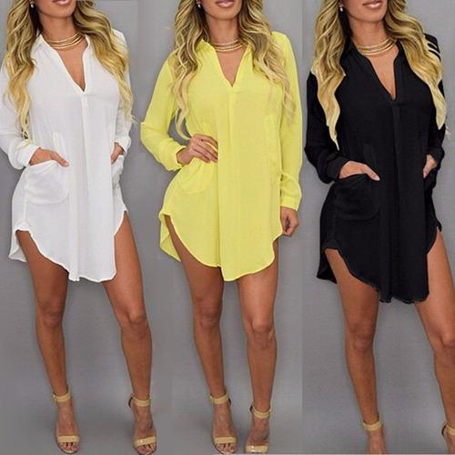 Vestido Suelto Chiffon Fashion Mujer Loose Long Sleeve //