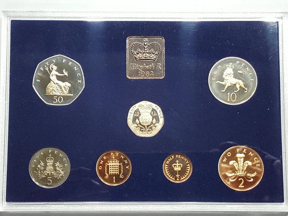 Inglaterra Set Proof 7 Monedas 1982 Con Certificado De Auten