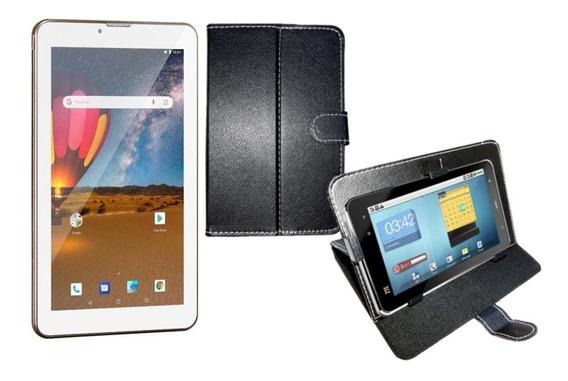 Tablet Dourado M7 3g Dual Chip Celular Bluetooth 16gb + Capa