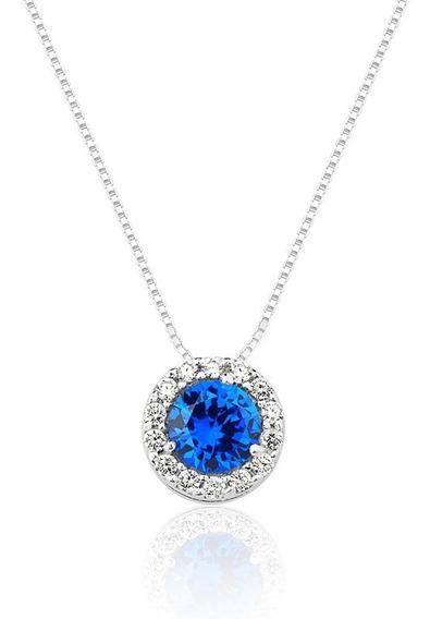 Colar De Prata Princesa Redondo Cristal Azul