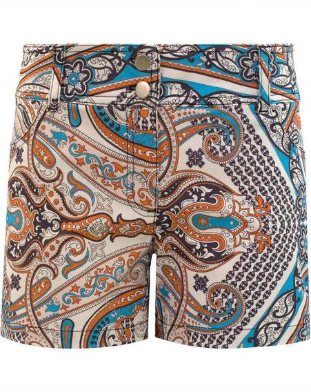 Shorts Bermuda Feminino Cintura Alta Estampado Em Sarja