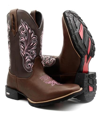 Bota Texana Country Feminina Butina Cowgirl Super Conforto