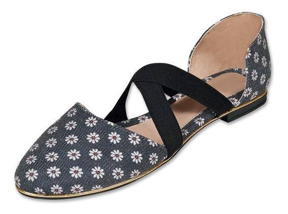 Calzado Dama Mujer Zapato Flat Casual Flores Negro Cómodo