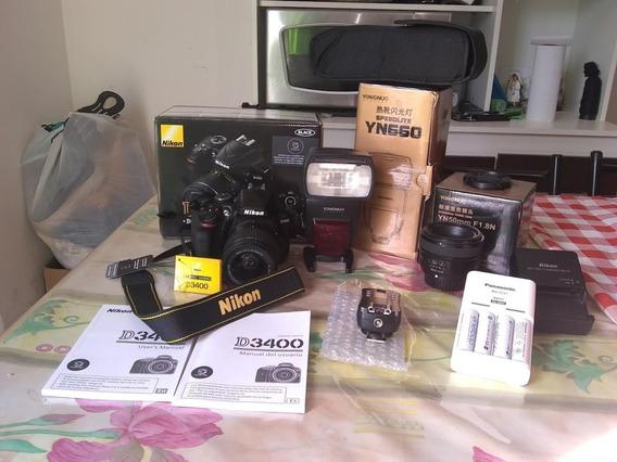 Cámaras Réflex Nikon D3400 + Lente Yongnuo 50mm 1.8 + Flash