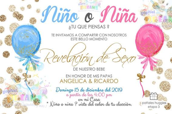 Invitacion Revelación Del Sexo Globos Imprimible Digital