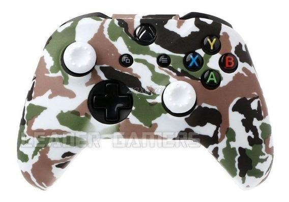Capa Silicone + Par Grip Controle Xbox One S E X Camuflada