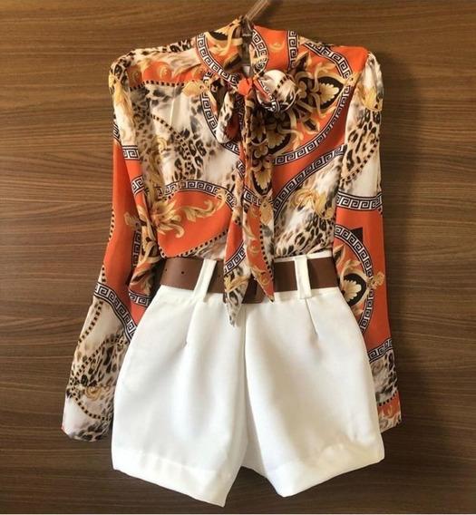Conjunto Feminino Camisa Laço + Short + Cinto