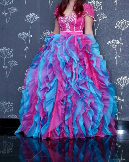 Vestido 15 Anos Princesa Rosa E Azul Bordado 2 Em 1