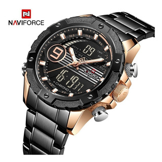 Relógio Dourado Naviforce 9146 Digital Analógico Masculino