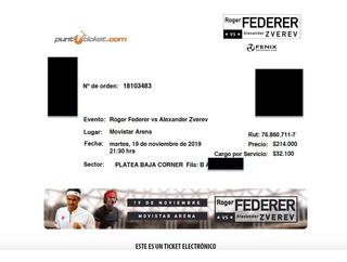 Entradas Roger Federer Vs Zverev Platea Baja (segunda Fila)