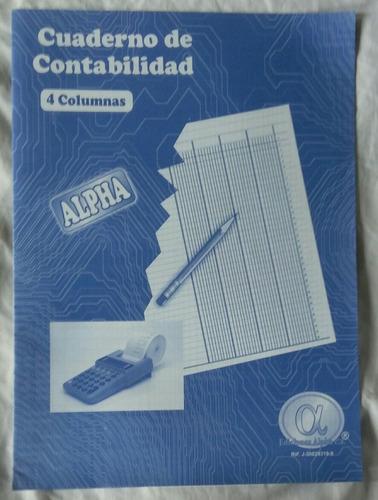 Cuaderno De Contabilidad 4 Columnas Alpha X 2 Unidades