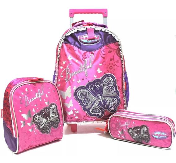 Kit Mochila Infantil Borboleta Beautiful Glitter Rodinhas G