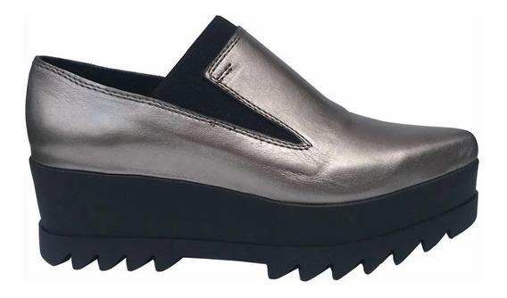 Zapato Mujer En Punta Capellada Forro Cuero Plataforma Goma