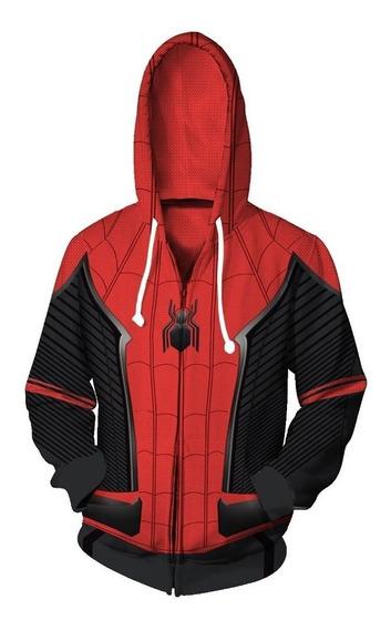 Casaco Homem Aranha Longe De Casa Com Capuz - Marvel Vingadores Ultimato - Unissex - Pronta Entrega - Moletom Cosplay