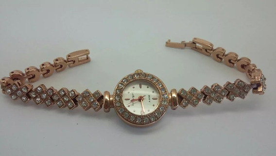 Relógio Dourado Rose-pedras Sintéticas-alto Brilho Promoção