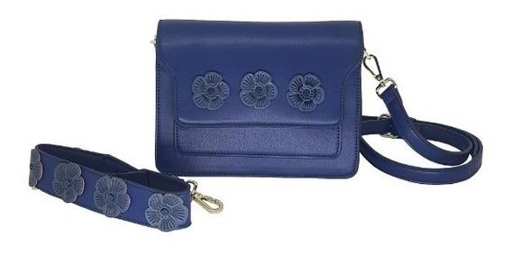Bolsa Feminina Tiracolo Cor Azul Com 2 Opções De Alças