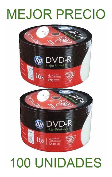 Dvd Virgen Hp Inkjet Printeable Dvd-r 16x 4.7 Gb 120 Min