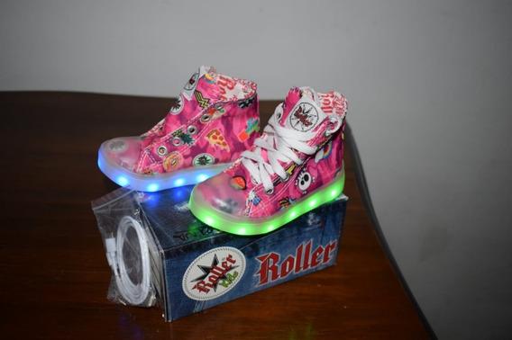 Zapatilla Roller Botitas Con Luces Led. Cargador Usb.