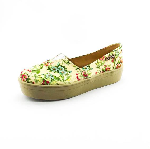 Tênis Flatform Quality Shoes Feminino 003 Floral Amarelo 202