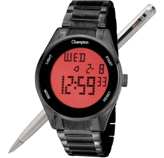Relógio Champion Digital Unissex Ch40231d Preto Nota Fiscal