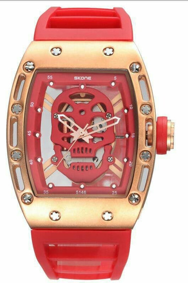 Reloj Skeleton Marca Skone Calavera / Incluye Estuche