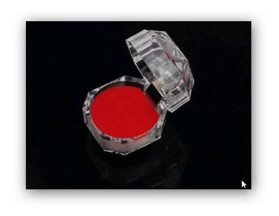 10 Estuches Plástico Cristal Base Roja Para Anillo O Aretes