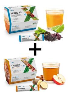 Kit Bebidas Fuxion Termo T3 + T Nocarb Control Peso Y Grasas