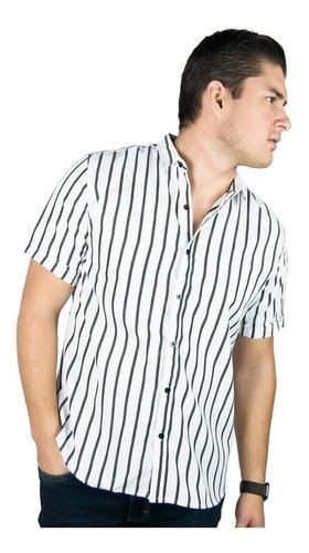 Camisa Manga Corta De Rayas Slim Fit