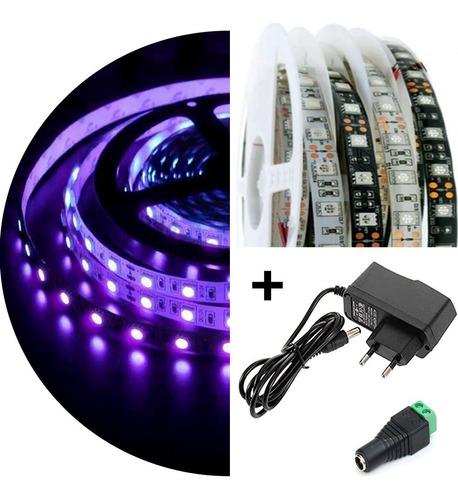 Imagem 1 de 9 de Fita Led Uv Ultravioleta Luz Negra Serigrafia Aquário - 1m