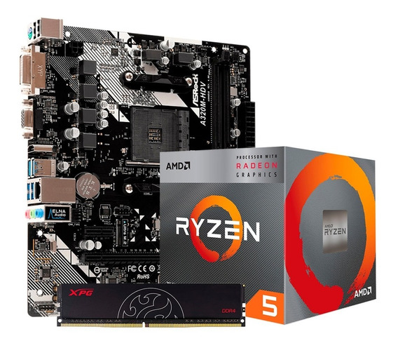 Combo Actualización Amd Ryzen 5 2600 4gb Mother A320m Pce