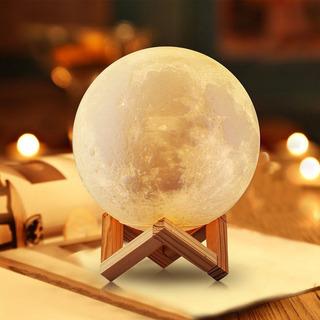 Moonlight Luna 3d Lampara Con Luz Led Y Dimmer 7 Colores 8cm