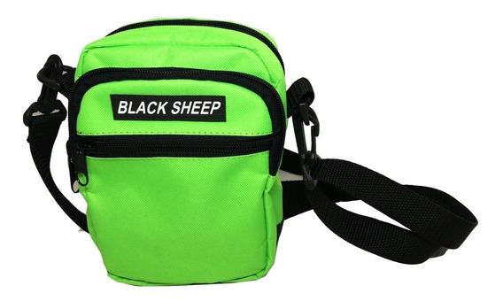 Shoulder Bag Side Bolsa Lateral Verde Flúor Unissex Skate