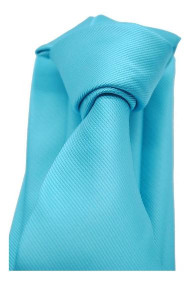 Corbata Italiana Azul Capri Turquesa Lisa Marca Idea Seda