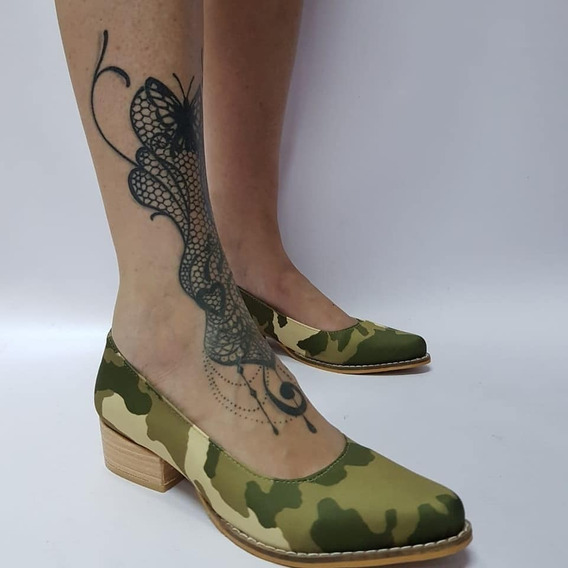 Stiletto Bajo Camuflado Stampa Woman