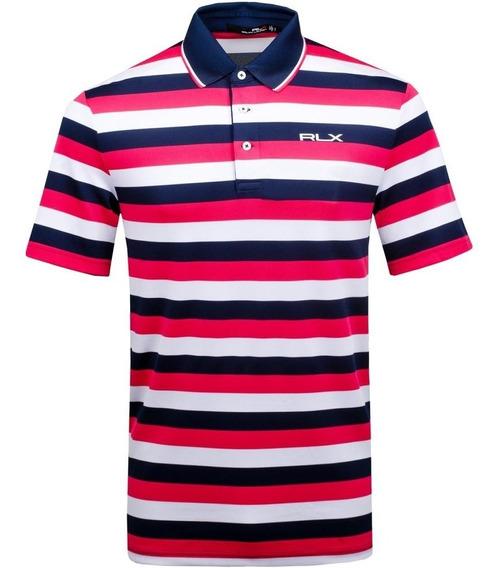 Rlx Ralph Lauren Striped Tech Pique Polo Exotic Pink/pure Wh