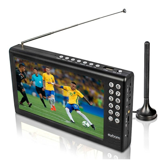 Tv Tela 7 Hd Portátil Digital C/ Bateria Usb Rádio Fm Mp3 Av