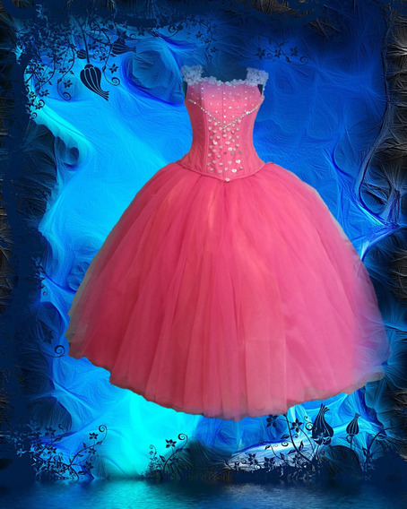 Elegante Vestido Rosa Chicle Con Tirantez Y Adornos Plata