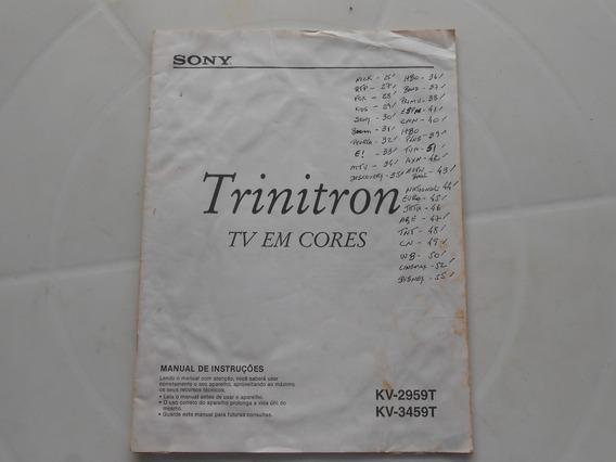Manual De Instruções Tv Sony Trinitron Kv-2959t / Kv-3459t