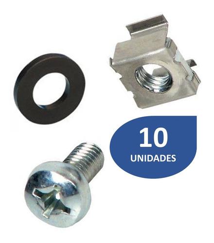 Imagen 1 de 3 de Tornillo Para Rack Con Tuerca Tipo Grapa Y Arandela 10 Und