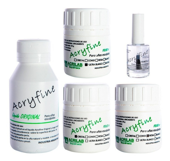 Acryfine Set X3 Polímeros 30gr + Monómero 100ml + Primer